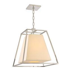 Hudson Valley - 6917-PN Kyle Foyer Lantern, Polished Nickel - Art Deco Foyer Lantern in Polished Nickel from the Kyle Collection by Hudson Valley.