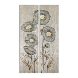 Uttermost - Uttermost Graceful Flowers Hand Painted Art, Set of 2 34296 - This artwork is hand painted on canvas then stretched over a wood frame. Due to the handcrafted nature of this artwork, each piece may have subtle differences.