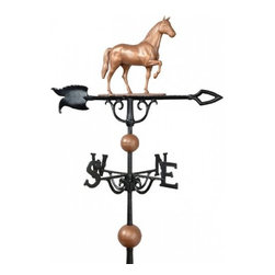 """Whitehall Products LLC - 30"""" Full-Bodied Horse Weathervane - Copper - Features:"""