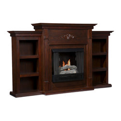 Holly & Martin - Fredericksburg Gel Fireplace with Bookcases, Espresso - If you are looking for an elegant accessory for your home, this is the piece for you. This beautiful and functional fireplace features a warm, reddish espresso finish that looks great in any room. A classic floral design is carved across the top of this fireplace, above the firebox. A bookcase on either side of the fireplace provides space and storage for all of your favorite readings, media and home decor accessories. Requiring no electrician or contractor for installation allows instant remodeling without the usual mess or expense. In addition to your living room or bedroom, try placing this fireplace in your home office. Use this great functional fireplace to make your home a more welcoming environment.