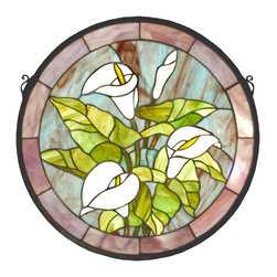 Meyda Tiffany - Meyda Tiffany 20955 CALLA Calla Lily Medallion Stained Glass Tiffany Window - A bouquet of Pure White Calla Lilies with Bronzed Green leaves are the centerpiece of this Stormy Blue circle framed in Plum glass. This Meyda Tiffany original window is handcrafted utilizing the copperfoil construction process and 123 pieces of stained art glass encased in a solid brass frame. Mounting bracket and jack chain included.