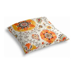 Orange Suzani Custom Outdoor Floor Pillow - Pick up a Simple Outdoor Floor Pillow for your next shindig under the sun. Perfect for an outdoor picnic or Moroccan style cabana party. We love it in this eclectic orange, yellow and gray outdoor print where suzani meets sunshine.