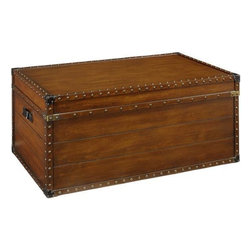 "Home Decorators Collection - 37""W Steamer Trunk Coffee Table - Featuring rustic styling and vintage details, the Steamer Trunk Coffee Table offers an interesting look that will instantly refresh your home decor. Designed to appear like a vintage trunk, this coffee table offers convenient storage space. This unique piece will bring convenience and rustic appeal into your living room. Constructed from quality wood veneer for lasting beauty and use. Studded metal accents throughout. A rich brown finish completes the look."