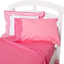 One Grace Place - One Grace Place Simplicity Twin Sheet Set in Hot Pink - Provide a feminine and cozy haven for your baby with the Simplicity Hot Pink collection. The sheet set includes one flat and one fitted sheet in pink dots and the standard pillowcase that comes in solid pink with pink dot trim.