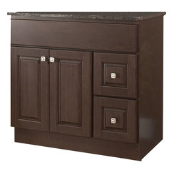 "JSI - JSI Hampton Bathroom Vanity Base 36"" Wood Frame 2-Door, Right Hand Drawers - PLEASE NOTE: Sale is for vanity cabinet only - Faucet, top, and sink are not included."