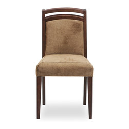 Bryght - 2 x Jania Fabric Upholstered Dining Chair - The Jania dining chair gives a classic twist to a modern design, with its curved wooden frame and luxuriant upholstery. Carefully crafted slanted back and a tilted seat keeps you sitting comfortably in this dining chair for as long as you like.