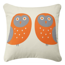 Wabisabi Green - Owl Eco Pillow, Orange and Gray/Cream, With Insert - - Durable recycled polyester-organic cotton blend fabric.