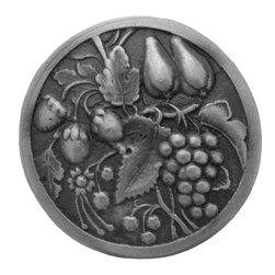 "Inviting Home - Tuscan Bounty (antique pewter) - Hand-cast Tuscan Bounty Knob in antique pewter finish 1-9/16"" diameter Product Specification: Made in the USA. Fine-art foundry hand-pours and hand finished hardware knobs and pulls using Old World methods. Lifetime guaranteed against flaws in craftsmanship. Exceptional clarity of details and depth of relief. All knobs and pulls are hand cast from solid fine pewter or solid bronze. The term antique refers to special methods of treating metal so there is contrast between relief and recessed areas. Knobs and Pulls are lacquered to protect the finish. Alternate finishes are available."