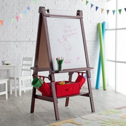Classic Playtime Deluxe Easel - Espresso - Do you hear that? That's called quiet and that's what happens when you engage your little one's creative side with the Classic Playtime Deluxe Easel - Espresso. This awesome easel will have your child engaged in their imagination creating their newest masterpiece as you unwind. One side of the easel features a magnetic chalkboard the other a white dry erase board. The top of the easel holds a large roll of paper that can be unfurled for painting. Velcro side pouch for extras. Accessory tray is perfect for holding paint crayons or markers and two storage bins keep all the art supplies in order. Building the Building BlocksPlaytime doesn't require batteries or a screen and providing kids with a place to grow and learn doesn't require sacrificing your home's integrity. Classic Playtime is devoted to the idea that given constructive ways to explore their world and themselves children blossom in their own gardens. Our furniture is designed to be simple unique and functional in both kids' and adults' spaces. You'll find stylish and practical places for art activities reading writing building and somewhere to keep it all during downtime.