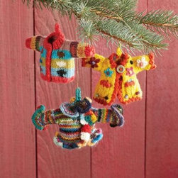 Hand Knit Sweater Ornaments Set of 3 -