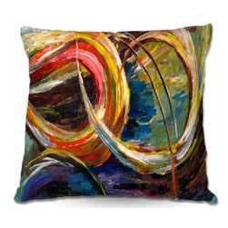 DiaNoche Designs - Pillow Linen - Abstract Spiral - DiaNoche Designs works with artists from around the world to create astouding and unique home decor products.  Add a little texture and style to your decor with our Woven Linen throw pillows.  The material has a smooth boxy weave.  Each pillow is machine loomed, then printed and sewn ALL IN THE USA!!!  100% smooth poly with cushy supportive pillow insert with a hidden zip closure. Dye Sublimation printing adheres the ink to the material for long life and durability. Double Sided Print, machine wash upon arrival for maximum softness. Product may vary slightly from image.