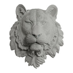 Wall Charmers - Wall Charmers Tiger in Gray | Faux Taxidermy Bust Resin Fake Head Mount Decor - WALL CHARMERS FAUX TAXIDERMY TIGER HEAD