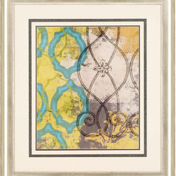 Paragon Decor - Beauty of Pattern I Artwork - Matting is enhanced with hand applied paper.  Framed in silver finish molding.