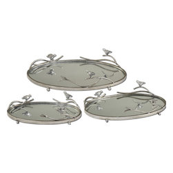 The Uttermost Company - Birds On A Limb Mirrored Trays - Antiqued, silver champagne metal frames and details with plain mirrors for the tray bases.  Sizes:  Sm-15x4x9, Med-18x4x11, Lg-21x5x13.
