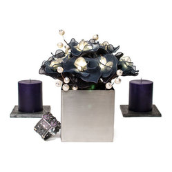 The Firefly Garden - Shades of Grey - Shades of Grey is a bold blend of illuminated roses in shades of grey with decorative silver balls studded with crystals. Featured in a modern stainless steel cube, this is a perfect accent piece for a side table or a small niche. Share your love on Valentine's Day or your anniversary with lighted flowers as a unique alternative to a bouquet.