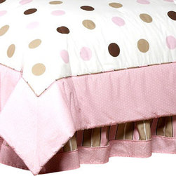 Sweet Jojo Designs - Pink and Chocolate Mod Dots Bed Skirt Queen - The Mod Dots Chocolate and Pink Bed Skirt by Sweet Jojo Designs helps complete the look of your child's room. This skirt, or dust ruffle, adds the finishing touch while conveniently hiding under-the-bed storage.