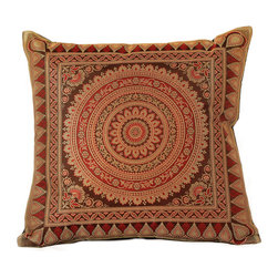 Banarsi Designs - Exotic Oriental Pillow Cover, Set of 2 (Coffee Brown) - The Exotic Oriental Pillow Cover brings beauty and style to your surroundings. Crafted in India, these gorgeous throw pillow covers are available in a variety of unique colors. Choose from a great variety of colors in our collection or mix and match your favorite pillow covers together to create a customized look for your home.  Zippers allow for easy removal and the 16 X 16 size fits most throw pillows in your home. Perfect for decorating your living room, guest rooms and bedrooms.