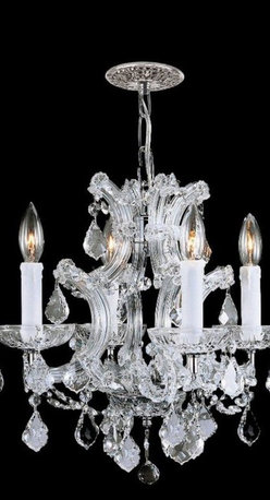 None - Polished Chrome Hand-cut Crystals 4-light Mini Chandelier - Brighten your home decor with a 4-light mini chandelierLight fixture features clear hand-cut crystals and a hand-polished chrome finishLighting designed for today's interior spaces