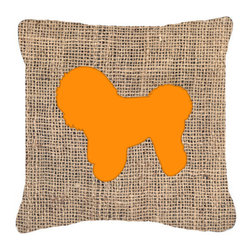 Caroline's Treasures - Bichon Frise Burlap and Orange Fabric Decorative Pillow Bb1107 - Indoor or Outdoor pillow made of a heavy weight canvas. Has the feel of Sunbrella fabric. 14 inch x 14 inch 100% Polyester Fabric pillow Sham with pillow form. This pillow is made from our new canvas type fabric can be used Indoor or outdoor. Fade resistant, stain resistant and Machine washable.