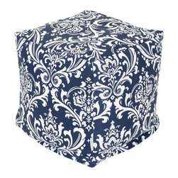 Majestic Home - Indoor Navy and White French Quarter Small Cube - If you think a beanbag is a relic from the '70s, think again. It's been re-envisioned for your favorite modern setting as a cube, so versatile you can use it as a seat, footstool or side table.