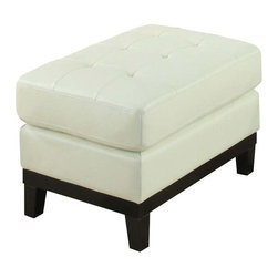 Coaster - Coaster Paige Leather Ottoman in Cream - Coaster - Ottomans - 504424 - This rectangular ottoman will add a fresh modern flair to your living room. The tufted top cushion offers a comfortable spot to rest your feet, with a sleek wooden rail and tapered legs below. Pair this ottoman with your upholstered living room pieces for a complete ensemble.