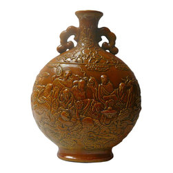 Golden Lotus - Chinese Ceramic Round 18 Lohons Arhats Yellow Brown Vase - This is hand made ceramic pottery vase in round flat shape and with relief motif of famous Chinese 18 Lohons Arhats on the surface. The yellowish brown color is glazed as the finish.