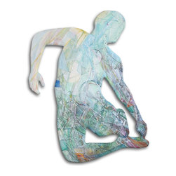 "Midair Figure No.1, Original, Painting - A shaped painting of a figure in midair. The shape has become the container for the expressive marks, the space and ultimately, the possibilities with"" As with my more traditionally-shaped work, the figure offers solid grounding for the play of color and texture that occupy it. This series will include entire figures captured in midair.  The edge has been rounded, and the painting continues around the edge to the wall."