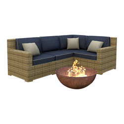 Forever Patio - Hampton 4 Piece Outdoor Wicker Sectional Set, Heather Wicker and Indigo Cushions - The 4 Piece Hampton Modern Sectional Set by Forever Patio With Blue Sunbrella cushions (FP-HAM-4SEC-HT-SI) sports the latest modern wicker design while providing an incredibly luxurious outdoor seating experience. The set seats 4 adults comfortably, and includes a left arm, right arm, middle and corner section.This set features Heather wicker, which is made from High-Density Polyethylene (HDPE) for outdoor use. Every strand of this wicker is infused with its natural color and UV-inhibitors that prevent cracking, chipping and fading ordinarily caused by sunlight. Each piece features thick-gauged, powder-coated aluminum frames that make the set extremely durable and resistant to corrosion. Also included with the set are cushions covered in fade- and mildew-resistant Sunbrella fabric, available in a wide selection of colors. The seating is generously sized and the back cushions are overstuffed, providing unmatched outdoor comfort.