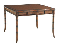 Lexington - Lexington Bal Harbor Marco Island Game Table 293SA-300 - Rosewood and rattan trim complement the leather playing surface. Woven rattan panels on all four sides, including two full extension storage drawers with aged brass burnished hardware.