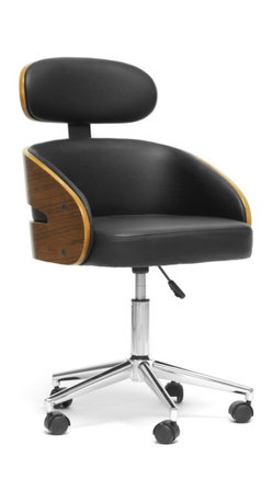Baxton Studio - Baxton Studio Kneppe Black Modern Office Chair - Work smarter with the Kneppe Contemporary Office Chair. This swiveling seat's walnut-finished plywood and black faux leather make it a stylish place to keep your nose to the grindstone. Black plastic caster wheels are affixed to the bottom of a chrome-plated steel base and adjustable height gas piston. The Kneppe Modern Office Chair is made in China and requires assembly. To clean, wipe with a damp cloth.