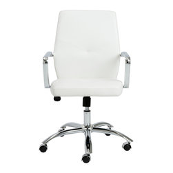 Euro Style - Euro Style Napoleon Low Back Office Chair 01292WHT - Napoleon said 'an army marches on its stomach' citing the strength of good nutrition in the field of battle. In an office, we say 'the army works on very comfortable chairs'. Napoleon office chairs, high back and low. Arm your staff with these bold and sturdy chairs and discover how comfort conquers all.