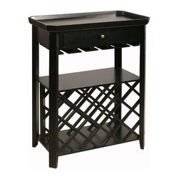 Wine Table - Picking up a bottle or two of wine is easy enough, but where to store those bottles? Just Cabinets Furniture & More makes it easy to solve your storage issue with this multifunctional Wine Table. Performing many roles, this has room for 17 bottles, a top stemware hanging rack over an open storage shelf, a convenient drawer for openers or stoppers, and a tray to prevent spills on top. The Wine Table provides storage and display space all in one. Constructed of durable wood in a rich Black Olive finish, this sturdy wine rack keeps its contents safely stored and within easy reach for any impromptu occasion.