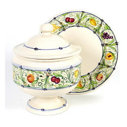Artistica - Hand Made in Italy - Armonie: Soup Tureen with Platter - Armonie, the name of this collection translates to 'harmonies' summarizing the harmonious fashion in which the fruits of this pattern are arranged in this delicate new design.