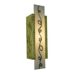 A19 - Squiggle Wall Sconce Pistachio and Clover - This tall rectangular wall sconce features a whimsical squiggle fused between two layers of reclaimed window glass. Light shines through the openings at the top and bottom and naturally illuminates the funky and playful design. This wall light is handmade, incorporating a glazed ceramic base and recycled glass from a local source.