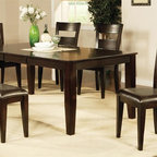 Steve Silver Co. - Victoria 5-Pc Rectangular Dining Set - Includes table and four side chairs. Bench not included. Contemporary style. One 18 in. butterfly leaf. Corner block construction. Tongue and groove joints. Slat back chairs. Wrapped legs. Durable chocolate vinyl seat upholstery. Made from solid wood. Mango finish. Made in Vietnam. Seat height: 18 in.. Chair: 22 in. W x 19 in. D x 40 in. H (21.5 lbs.). Table minimum: 60 in. L x 42 in. W x 30 in. H (131.5 lbs.). Table maximum: 78 in. L x 42 in. W x 30 in. H
