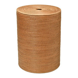 Kouboo - Round Rattan Hamper with Cotton Liner, Honey-Brown - This round rattan hamper will keep laundry out of sight in a naturally beautiful container. Hand woven from rattan in Hapao style, this honey-brown hamper features a removable, machine-washable, cotton liner to protect your clothes and built-in handles for easy movement and carry. 1 year limited warranty.
