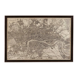 Bassett Mirror Company - Bassett Mirror Vintage Map of London - Vintage Map of London belongs to Other Collection by Bassett Mirror Company Vintage Map of London Wall Panel (1)