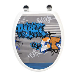 Photoprint MDF Toilet Seat Graffiti with Zinc Hinges Multicolor Elongated - This photoprint toilet seat Graffiti is in medium-density fiberboard (MDF) with an urban style design. This standard size toilet seat has adjustable zinc alloy hinges (3 positions-5 possible lengths) and is easy to install with the included hardware. Comfortable with its 4 bumpers, it fits standard toilet bowls. Assembly instructions are supplied. Clean with warm soapy water. Length 16.73-Inch (max 18.5-Inch) and width 14.75-Inch. Color multicolor. Enhance your bathroom decor with this unique toilet seat! Complete your decoration with other products of the same collection. Imported.