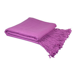 "Pur by Pur Cashmere - Signature Blend Throw Orchid 50""x65"" With 6"" Fringe - Bamboo velvet throw. 100%  bamboo.  Dry clean only. Inner mongolia."