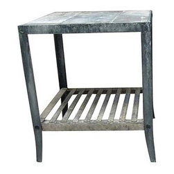 R.T. Facts - Two-Tiered Zinc Side Table - Are you looking for an accent piece that's outside of the usual? Consider this industrial-style side table made from a metal not common in furniture. This zinc side table features repurposed zinc on the bottom tier and inlaid zinc sheet metal on top.