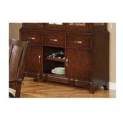 Alpine Furniture - Bradbury Buffet in Dark Merlot Finish - Three drawers. Two doors. One open shelves. Six months warranty. Made from rubber wood solids and cherry veneer. Made in Vietnam. 58 in. W x 18 in. D x 36 in. H