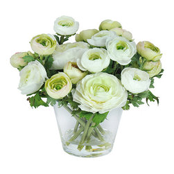 Jane Seymour Botanicals - Jane Seymour Botanicals Ranunculus In Glass Vase Arrangement - Ranunculus blossoms in soft greens and shades of white  are looking fresh as ever (forever!) with Liquid Illusion faux water adding even more realism to the mix. 10 inches tall.
