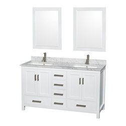 Wyndham Collection - Sheffield Bathroom Vanity in White, White Carrera Top, UM Square Sinks, Mirrors - Distinctive styling and elegant lines come together to form a complete range of modern classics in the Sheffield Bathroom Vanity collection. Inspired by well established American standards and crafted without compromise, these vanities are designed to complement any decor, from traditional to minimalist modern.