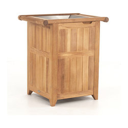 Westminster Teak Furniture - Palazzo II Teak Trash Receptacle - The Palazzo Collection of teak trash and towel hamper receptacles bring unsurpassed detail to the otherwise mundane. Crafted with premium-grade A Plantation teak, every model will fit beautifully in any space; from porte-cocheres and entryways, to lobbies and lanais. Apart from the beauty and warmth its exudes, solid teak also allows for outdoors use, season after season. Choose from three distinct styles. Each trash and towel hamper receptacle comes with powder coated aluminum open lid. Built to commercial specifications.