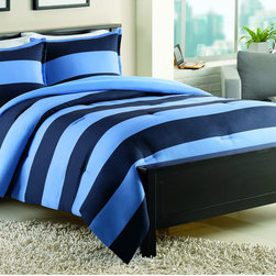 None - IZOD Rugby Stripe Mini Comforter Set - Cuddle up with your loved one under this striped comforter set from IZOD. Featuring a wrinkle-resistant microfiber construction for a soft feel, this luxurious comforter showcases a rugby-stripe pattern to complete your room's modern theme.