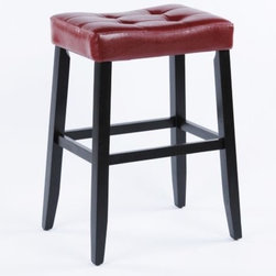 Portman Saddle Stool - The Portman Saddle Stool is a great stool to use in those spaces where a bar stool with a back isn't pratical.  This stool will easily tuck away underneath the counter and it's tufted for extra comfort.