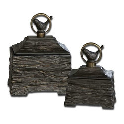 Uttermost - Uttermost Birdie Boxes Set of 2 - 19601 - -Metallic gray ceramic boxes with antiqued bronze metal accents