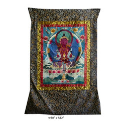 Hand Embroidery Tibetan Red Tara Thangka Wall Art - This is a nicely done hand embroidery of Tibetan Red Tara Thangka. It is good to be a wall art or for personal religious purpose.