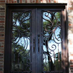 Entry Iron Door - San Marcos Design Double Wrought Iron Door with Square Top, handcrafted and perfectly welded details.