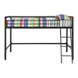 Dorel Home Products - Junior Twin Loft Bed in Black - NOTE: ivgStores DOES NOT offer assembly on loft beds or bunk beds. Mattress sold separately . Full length guardrails on upper bunk for added safety. Sturdy ladder facing bed. Requires one twin mattress. Manufacturer recommends 8 in. thick mattress. Made from metal. Warranty: One year. Weight capacity: 225 lbs. 78.15 in. L x 42 in. W x 49.6 in. H (150 lbs.). Assembly Instructions. Bunk Bed Warning Please read before purchase.Create a room where kids will want to spend all their free time, starting with this junior loft bed which allows them to customize their bedroom space to suit their personal style. The area underneath the loft bed is large enough to let them create their very own den for relaxing, playtime or quiet study area. This loft bed is shorter than most, which makes is ideal for younger children.